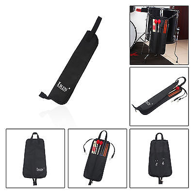 IRIN Drum Stick Bag Case Two Pocket With Strap Buckle - Black Color