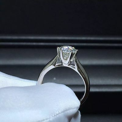 1.76 CT Off White Yellow Round Moissanite Engagement Ring 925 Silver Ring Nr71