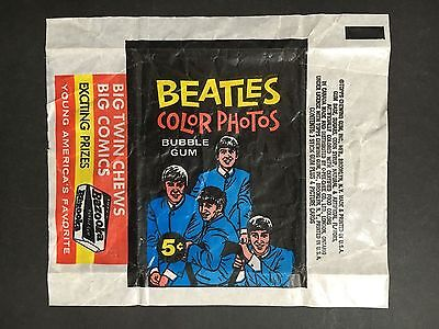 BEATLES COLOUR PHOTOS WAX TRADING CARD WRAPPER FROM 1960's BY TOPPS