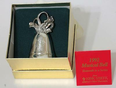 1992 KIRK STIEFF ANNUAL SILVER PLATE CHRISTMAS MUSICAL BELL Joy To The World
