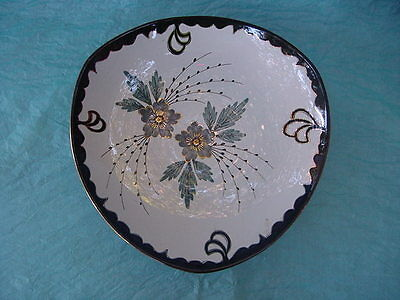 Mid-Century Modern Eames Era Hand Painted Flora GOUDA Fructiere Bowl 11.5""