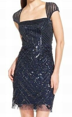 Adrianna Papell NEW Blue Embellished Women's Size 6 Sheath Dress $308 #470 DEAL