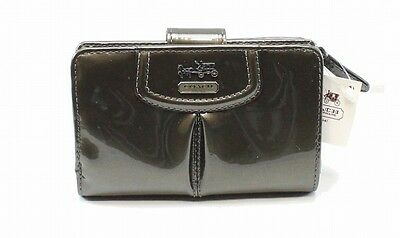 Coach NEW Pewter Grey Snap Zip Around Madison Patent Leather Wallet $158 #021