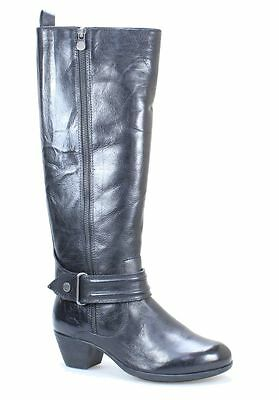 Nuture NEW Brooks Black Shoes 7M Knee-High Leather Zip-Up Boots $100- #446