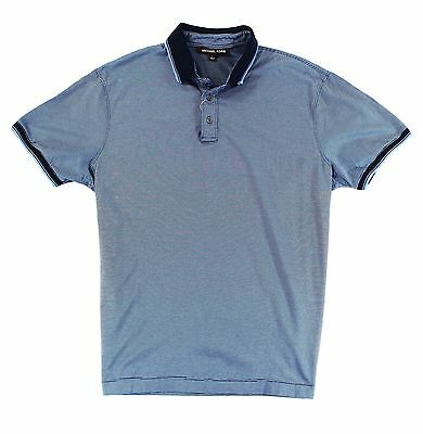 Michael Kors NEW Blue Mens Large L Stripe Short Sleeve Polo Rugby Shirt $50 #880