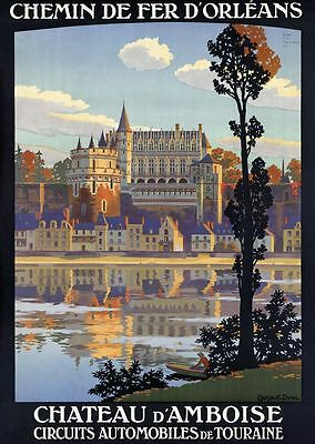 """Vintage Illustrated Travel Poster CANVAS PRINT Chateau D'Ambois 8""""X10"""""""