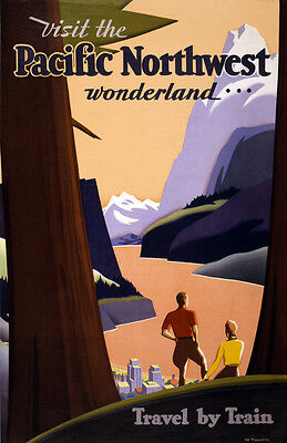 """Vintage Travel Poster CANVAS PRINT Pacific North West Train Advert 8""""X 10"""""""
