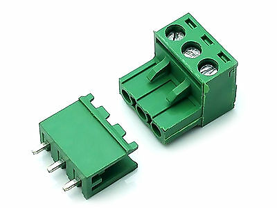 10 Sets 2EDG 3 Pin 3P Plug-in Screw Terminal Block Connector 5.08mm Pitch