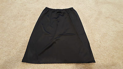 Vanity Fair Womens Black Half Slip with Slit, Size Small