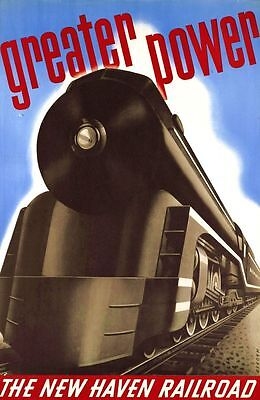 """Vintage Illustrated Travel Poster CANVAS PRINT New Haven Rail Train 8""""X10"""""""