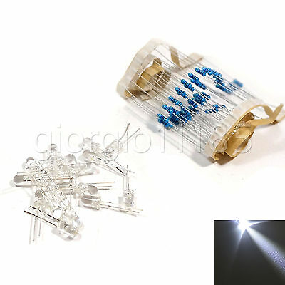 100 pcs LED 5mm White Water Clear Ultra Bright With Free 12V DC Resistors