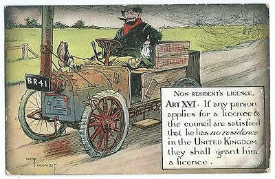 1911, Motorists Comic. Non - Residents Licence. Colour Postcard