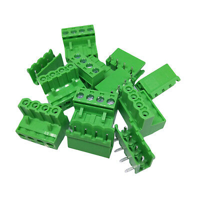 10Sets 2EDG 4Pin Plug-in Screw Terminal Block Connector 5.08mm Pitch Right Angle