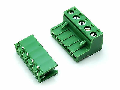 10Sets 2EDG 5Pin Plug-in Screw Terminal Block Connector 5.08mm Pitch Right Angle