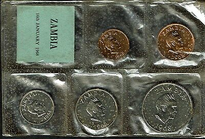 Zambia 5-Coin Specimen Mint Set 1968 Gem Bu Scarce K.d. Kaunda Km-Ms1
