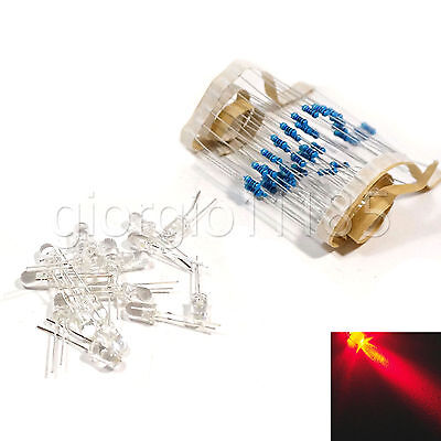 50 pcs LED 10mm Red Water Clear Ultra Bright With Free 12V DC Resistors