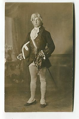 Unknown man dressed like a 18th Century naval officer - old postcard