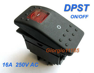 Red Light DPST OFF/ON Boat Car Rocker Switch RK1-06 Double Pole Single Throw