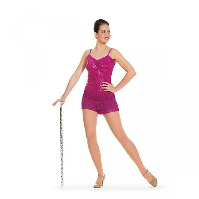 Ladies Pink Sequin Leotard With Fringed Skirt - Dance Costume