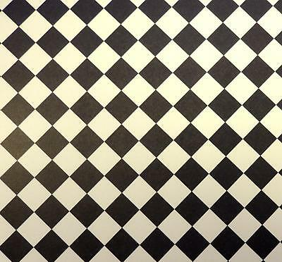 Dolls House Black & Cream Tile Effect Paper Miniature 1:12 Flooring Diagonal