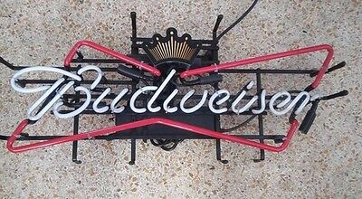 New Budweiser Beer Sign Opti Neon Bow Tie Led Light Busch Game Room Pub Bar Bud