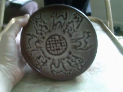 Heavy Art Pottery Hand Made Brown And White Bowl With Animal/bird Decoration