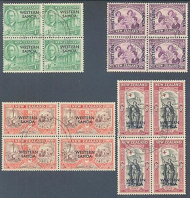 WESTERN SAMOA 1946 Peace Issue NZ O'printed Set in Blocks of 4 Fine Used (CTO)