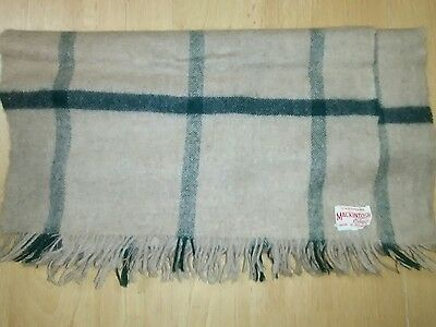 Vintage Mackintosh Elgin 100% Cashmere Brown Check Scarf
