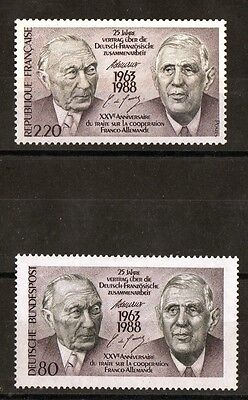 """2 Timbres-1988-Emission Conjointe """"france-R.f.a."""" -De Gaulle - Adenauer-Neufs **"""