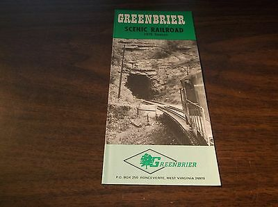 1975 Greenbrier Scenic Railroad Timetable Ronceverte, West Virginia