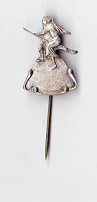 Vintage WITCH ON A BROOM metal stick pin badge 1960s Comic Cartoon Fairytale