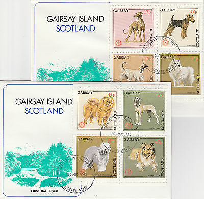 GB Locals - Gairsay (2340) Rotary - Dogs set of 8 on 2 First Day Covers