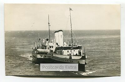 """Paddle steamer """"Cardiff Queen"""" at sea - old postcard-sized photo"""