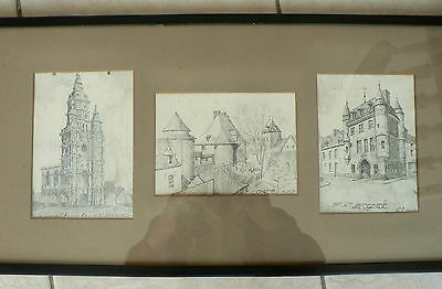 Three 1St World War Pencil Drawings. Conde In France  15-11-1916. By S.f.
