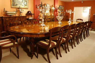 Huge Bespoke Marquetry Dining Table 16 Chairs Extending Walnut