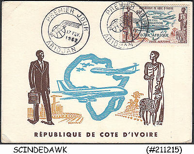 Ivory Coast - 1962 Air Afrique /aviation Special Card With Special Cancl.