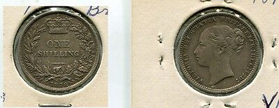1878 Great Britain Shilling Silver Coin Xf 3600G