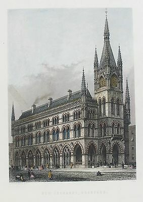 OLD ANTIQUE PRINT NEW EXCHANGE BRADFORD YORKSHIRE c1890's ENGRAVING by CASSELL