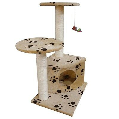 #SNew Cat Play Tree Scratcher Post Toy Bed Tower 70 cm Soft Plush Beige Pawprint