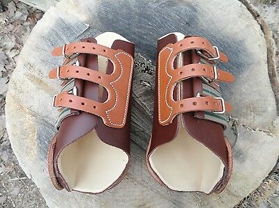 CLASSIC EQUINE Leather Front MEDIUM Splint Boots ~ Reining/Working Cowhorse