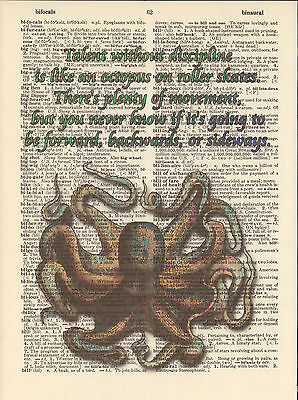 Octopus Talent Roller Skates Altered Art Print Upcycled Vintage Dictionary Page