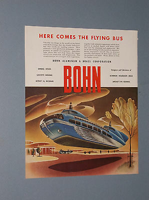 1946 Bohn Aluminum Ad Futuristic Flying Bus Twin Rotor Helicopter Style Bus