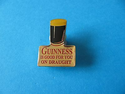 Guinness Is Good For You on Draught Pin Badge. VGC. Unused. Gold Colour.