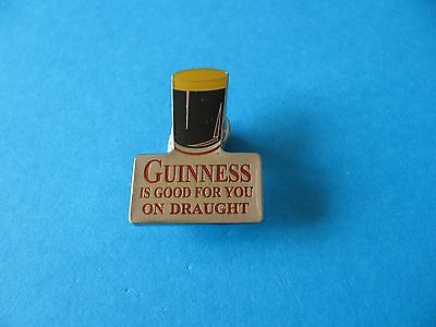 Guinness Is Good For You on Draught Pin Badge. VGC. Unused. Silver Colour.