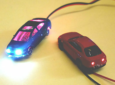 2 N Gauge Cars with 12Volt Head & Tail Lights:Fixed Wheels: New: POST FREE:UK: