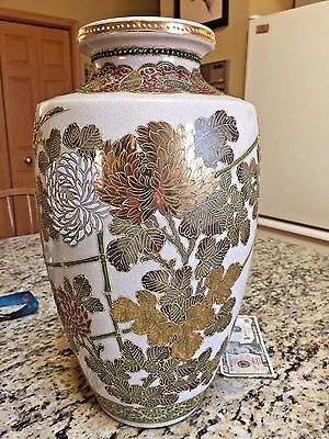HUGE Antique Japanese VASE porcelain Flower Gold Satsuma enamel cloisonne red st