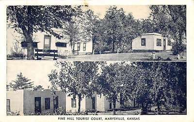 Marysville Kansas Pine Hill Tourist Court Multiview Antique Postcard K55744