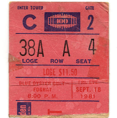 BLUE OYSTER CULT & FOGHAT Concert Ticket Stub MADISON SQUARE GARDEN 9/18/81 NYC
