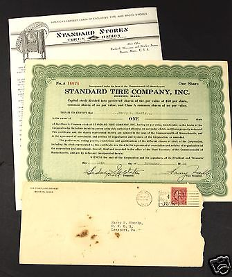 Standard Tire & Radio Company Illustrated Letter Cover & Stock Certificate