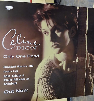 "CELINE DION Display Card Only One Road UK PROMO ONLY Rare 12"" x 12"" Poster ONE"